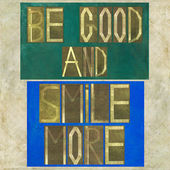 "Words ""Be good and smile more"" — Foto de Stock"