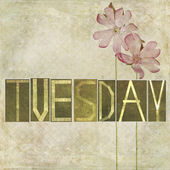 "Word ""Tuesday"" and flowers — Stock Photo"
