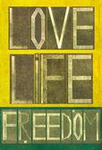 """Kelime """"aşk hayatını özgürlük"""" — Stok fotoğraf"""