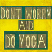 "Words ""Don't worry and do yoga"" — Stock Photo"