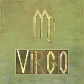 """Word and symbol for the zodiac sign """"Virgo"""" — Stock Photo"""