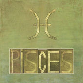 "Word and symbol for the zodiac sign ""Pisces"" — Stock Photo"