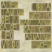 Names of the twelve signs of the zodiac — Foto de Stock