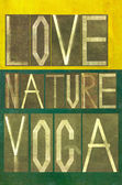 "Words ""Love Nature Yoga"" — Foto Stock"