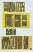 """As palavras """"desfrutar a vida e obra"""" — Fotografia Stock"""