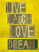 "Words ""Live Laugh Love Dream"" — Stock Photo"