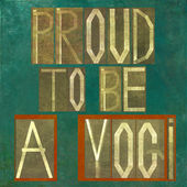 "Words ""Proud to be a yogi"" — Stock Photo"
