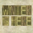 """Design element depicting the words """"Winter is here"""" — Stock Photo"""
