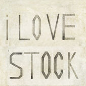 "Design element depicting the words ""I love stock"" — Stock Photo"