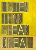 "Design element depicting the words ""Listen Think Speak Dream"" — Stockfoto"