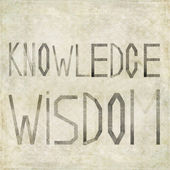"Design element depicting the words ""Knowledge Wisdom"" — Stock Photo"