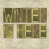 "Design element depicting the words ""Winter is here"" — Stock Photo"