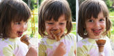 Girl them chocolate ice cream — Stock Photo