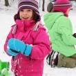 Children fun on the snow — Stock Photo