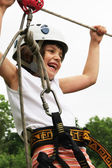 Extreme downhill on ziplines — Stock Photo