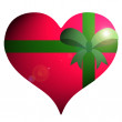 Red heart  with green ribbon on white background. - Stock Photo