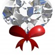 Diamond heart  with red ribbon on white background. - Stock Photo