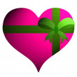 Pink heart  with green ribbon on white background. - Stock Photo