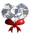 Diamond heart with red ribbon on white background. — Photo