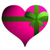 Pink heart with green ribbon on white background. — 图库照片