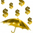 The golden rain of dollar signs — Stock Photo