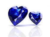 Blue sapphire on white background (high resolution 3D image) — Stock Photo