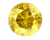 Yellow diamond on white background (high resolution 3D image)   — Stock Photo