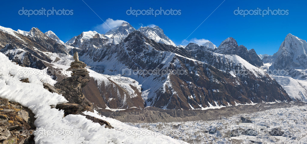 Panoramic View From Top of Everest Panoramic View of mt Everest 8 848 m And Gokyo Valley From Top of Gokyo