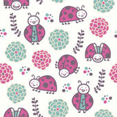 Cartoon ladybirds, vector seamless pattern — Vettoriale Stock