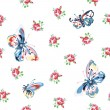 Vector floral seamless pattern with roses and butterflies — Stock Vector #27668289