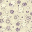 Vector cute seamless floral pattern with funny cats and birds — Stok Vektör