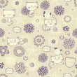 Vector cute seamless floral pattern with funny cats and birds — Stock vektor