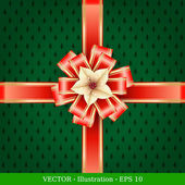 Gift box with ribbon and label. Vector Illustration. — Stock Vector