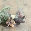 Christmas decoration over wooden background. — Foto de Stock