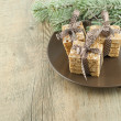 Christmas homemade cookies with decoration on wooden table. — Stock Photo