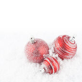Christmas red balls on the white background. — Stock Photo