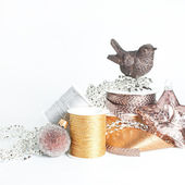 Christmas decoration. Shiny ribbon rolls. Craft materials. — Stock Photo
