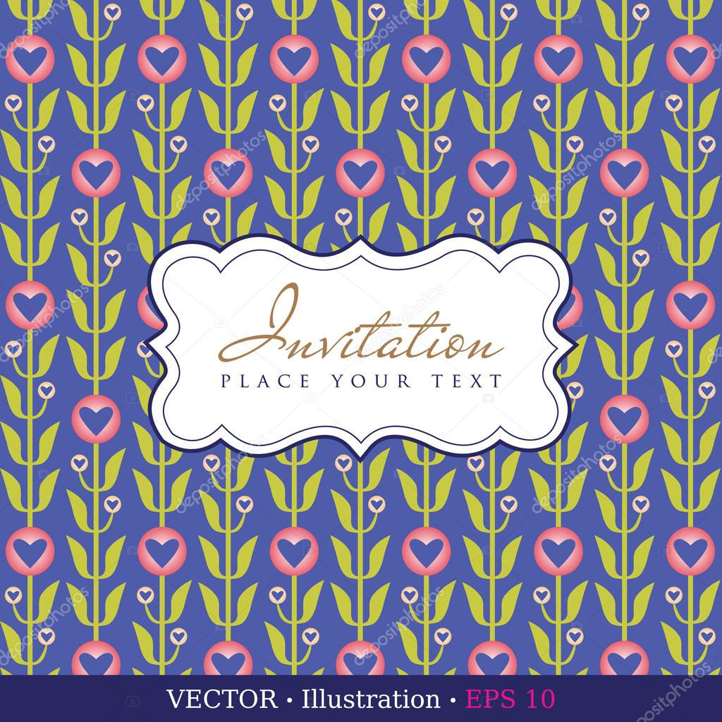Invitation card.Valentine`s day or Wedding card with hearts and a field for your text. Vector illustration.  Stock Vector #17865187