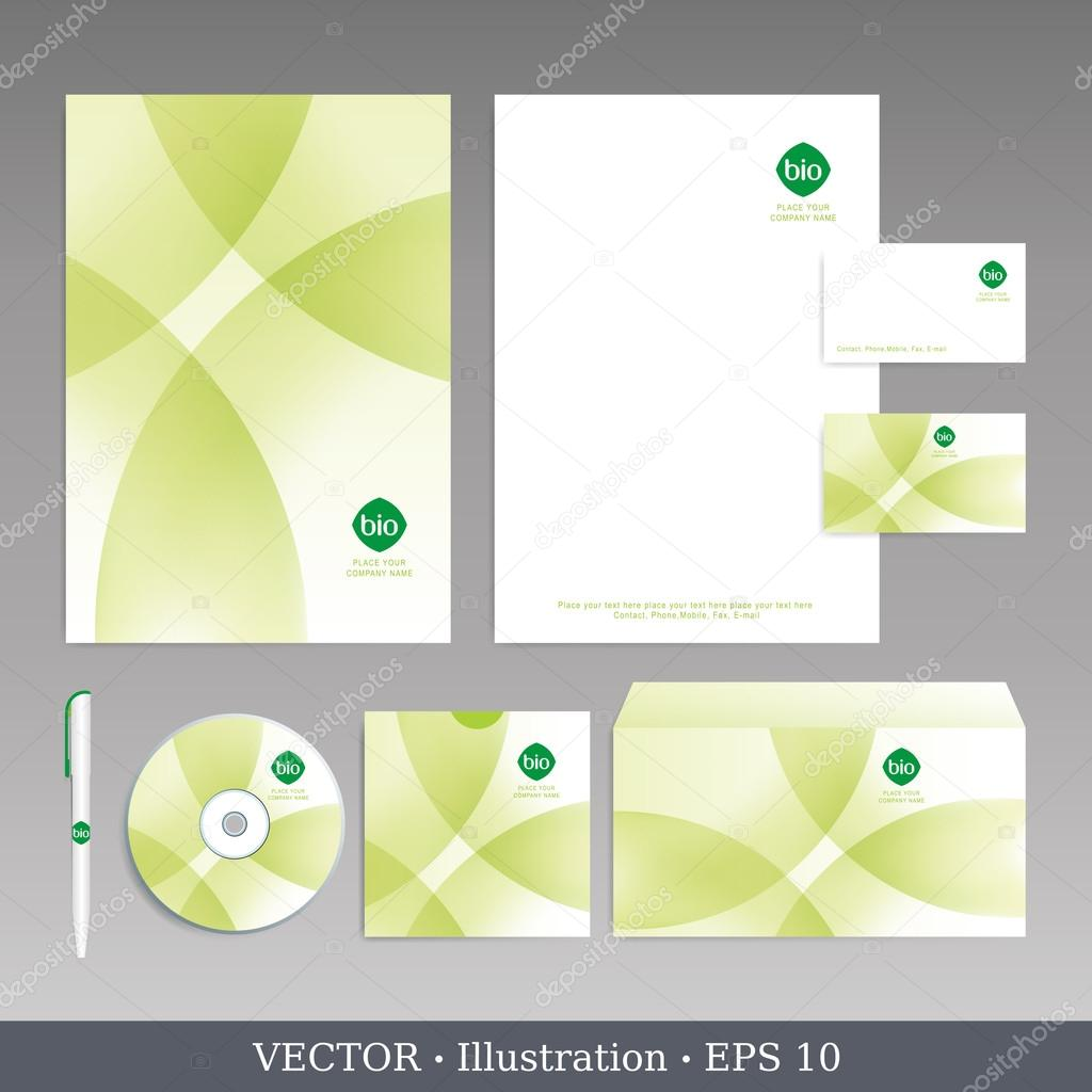 Corporate identity template. Bio style. Editable corporate identity template - design including CD, letterhead blank, envelope and visiting card. Vector illustration. — Stock Vector #17884241