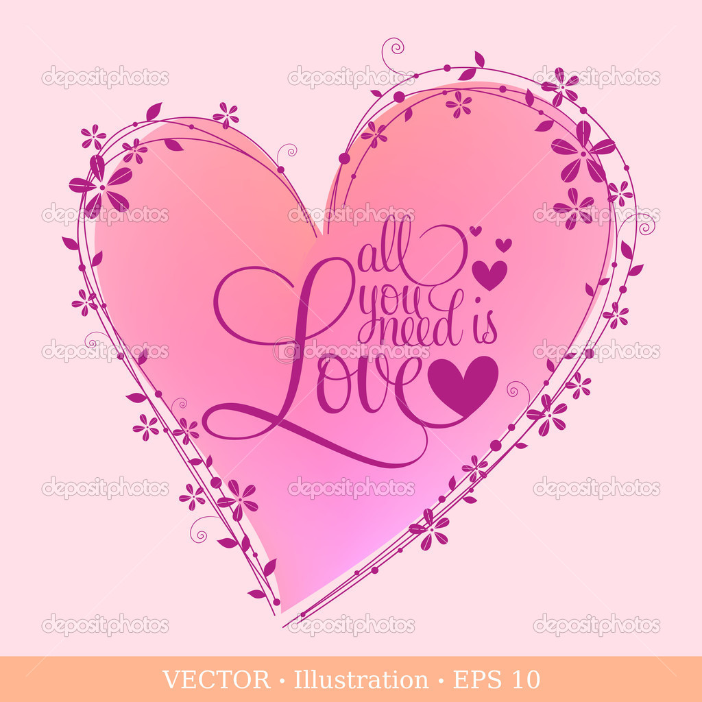 Invitation card of Valentine`s day or Wedding with heart. Vector illustration. — Stock Vector #19180973
