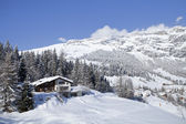 Winter in Swiss alps. Alpine scenery with chalet. — Stock Photo