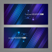 Abstract colorful dynamic elements. Website header or banner set — Stock Vector