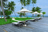 Swimming pools beach resorts, Maldives Island — Stock Photo