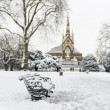 Постер, плакат: Hyde Park covered in snow with Albert Memorial in the background