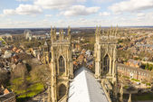 YORK, UK - MARCH 30: Roof of York Minster overlooking city. The — Stock Photo