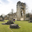 YORK, UK - MARCH 30: Ruins of Saint Mary's Abbey. Its constructi - Stock Photo