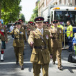 LONDON, UK - JUNE 29: Scottish regiment marching in support of t — Stock Photo