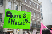 LONDON, UK - JUNE 29: Muslim gay poster in Baker Street at the G — Stock Photo