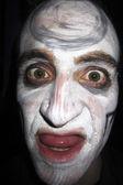 Portret człowieka zombie z białą skórę. czaszka twarzy malowane — Zdjęcie stockowe
