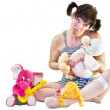 A woman with children's toys — Stock Photo